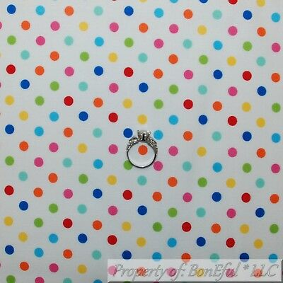 BonEful Fabric FQ Cotton Quilt Blue Rainbow Yellow Polka Dot Circle Star Baby US