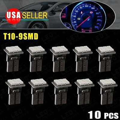 10 X Ultra Blue T10 168 194 W5W 9SMD LED For Dashboard Instrument Panel Light