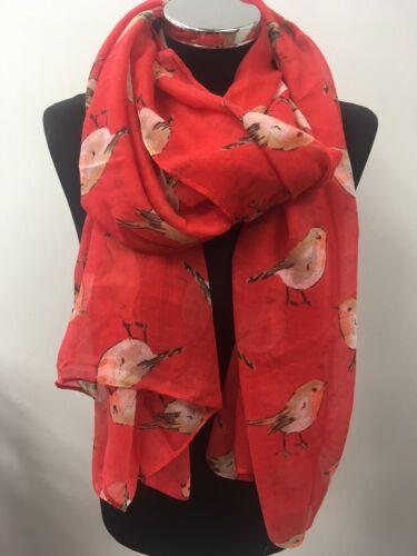 Red Robin Scarf Birds Wrap Ladies Red Robins Bird Secret Santa Christmas Xmas