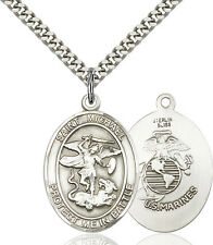 925 Sterling Silver St Michael Marines Military Soldier Catholic Medal Necklace