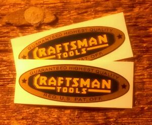 Craftsman-Tools-vintage-style-decal-2-1-4-034-early-blue-gold-yellow-1936-2-for-1