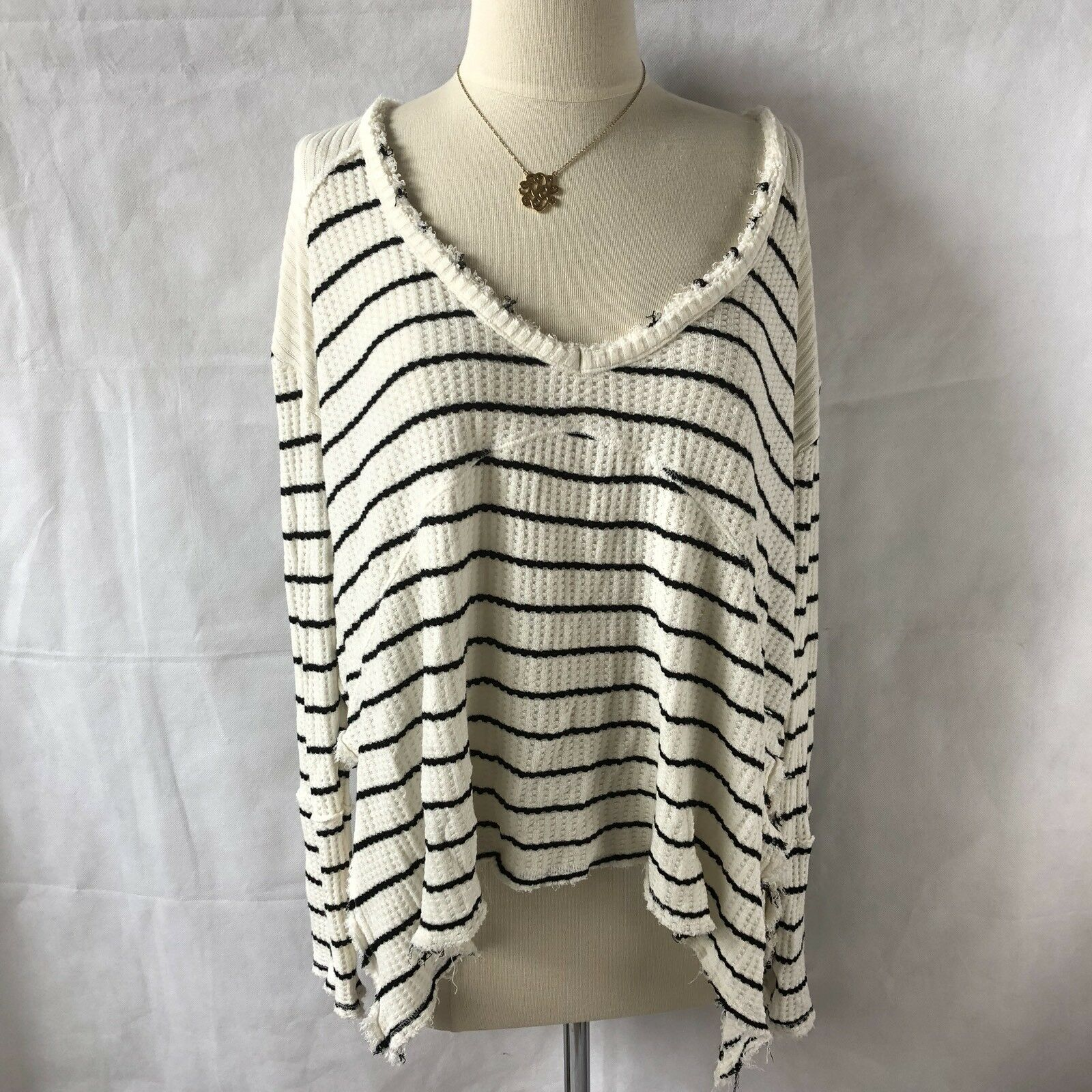 Free People Striped Oversized Henley Small