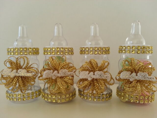 12 Gold Fillable Bottles For Baby Shower Favors Prizes Or Games Girl
