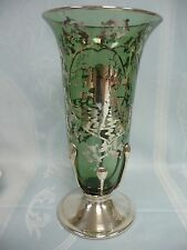 ANTIQUE SILVER OVERLAY GREEN GLASS VASE - CUPID w/BOW & ARROW - SILVER BASE