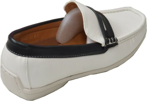 New Men/'s casual Driving Shoes Moc-Toe Moccasins Slip On Loafers Gamez//Whit//Blk