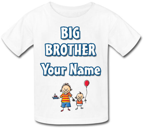 CHILDS PERSONALISED BIG BROTHER KIDS T-SHIRT GREAT GIFT /& NAMED TOO !!