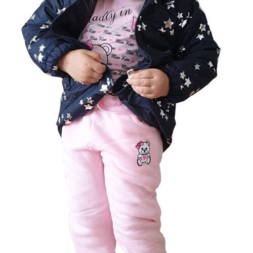 3-er Set Thermo Mädchen Jogginganzug Kinder Sportanzug Jacke Freitzeitanzug Baby