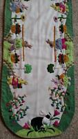 46 Hand Made Wool Flannel Flowers Rabbit Bunny Applique Easter Table Runner C