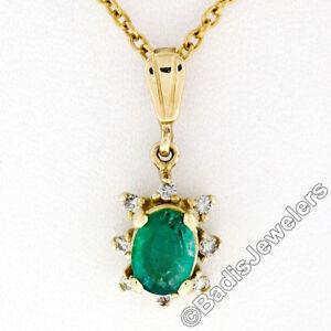 Petite-14K-Yellow-Gold-97ct-Oval-Emerald-Solitaire-Diamond-Halo-Pendant-amp-Chain