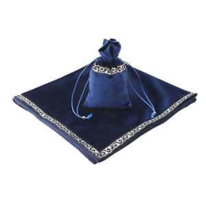 Blue Classic Altar Tarot Cards Drawstring Pouch Border Table Cloth Wicca