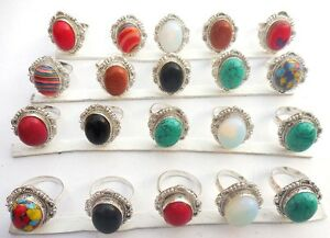 20PCS-SHUBHAM-GEMS-925-STERLING-SILVER-OVERLAY-RING-RED-AGATE-MIX-GEMSTONE
