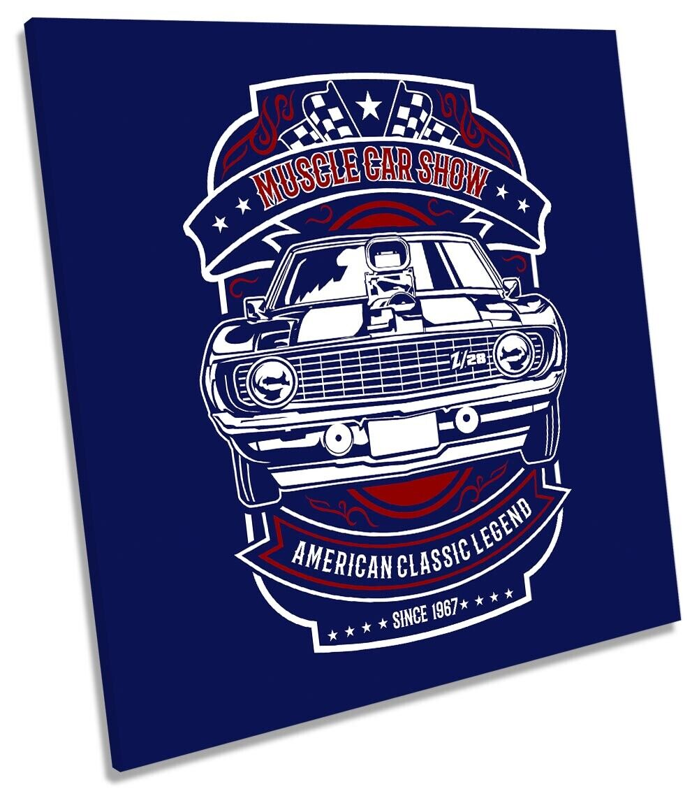 American Muscle Car Show Picture CANVAS WALL ART Square Print