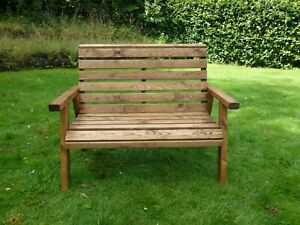 2 Seater Person Wooden Wood Garden Bench Love Seat Chair Patio Set Treated New Ebay