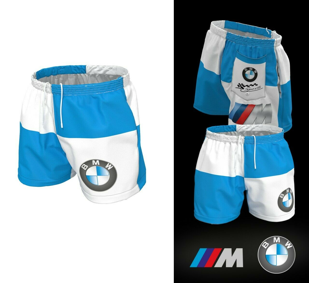 Man BMW Auto Summer Outfit bluee White Pants  Training Swimming Shorts