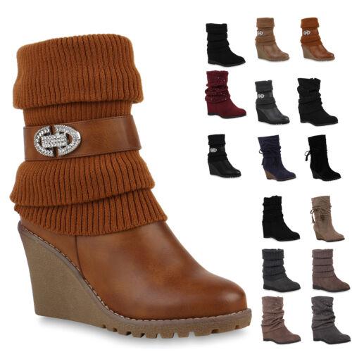 893165 Damen Stiefeletten Keilabsatz Wedges Profilsohle Boots New Look