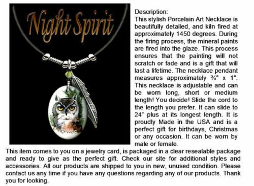 FREE SHIP  #LTH/' NIGHT SPIRIT OWL NECKLACE WILD NATURE ART JEWELRY OWLS GIFT