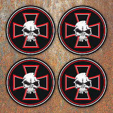 Skull Iron Cross Wheel Centres Stickers 58mm Round Hot Rod Vdub Camper Beetle 2