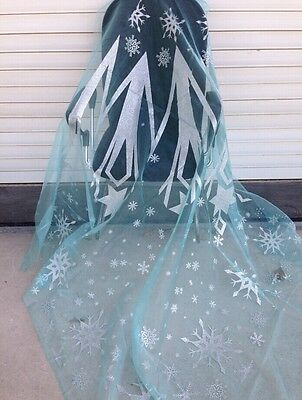 Frozen Elsa BIG Snowflake Print Organza Cape Cosplay Costume Fabric