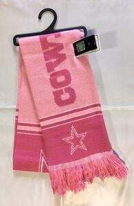 Dallas-Cowboys-Scarf-Knit-Winter-Neck-Double-Sided-Team-Logo-New-PINK-Rare