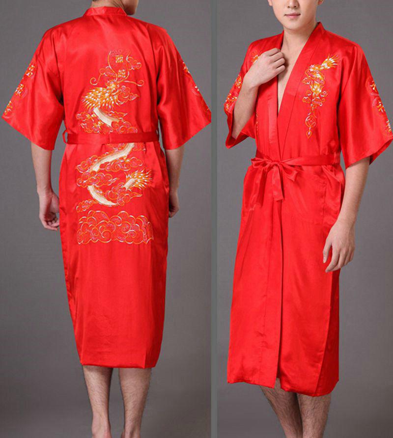 943bf945ee4bab Asia Herren/Damen Wende-Kimono Japan/China Satin Bade-/Morgenmantel ...