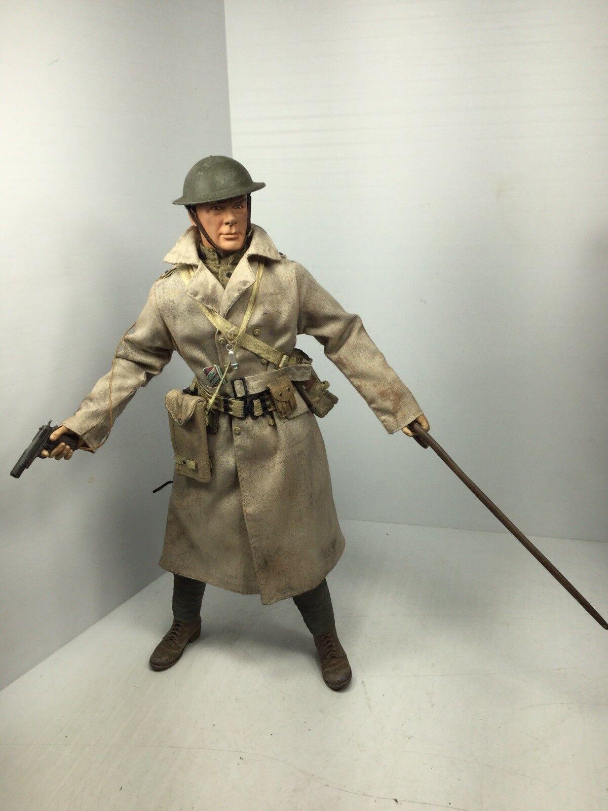 1 6 SIDESHOW WW1 nous A.E.F Lieutenant COLT 1911 + canne & Carte Trench DRAGON ne BBI 21st