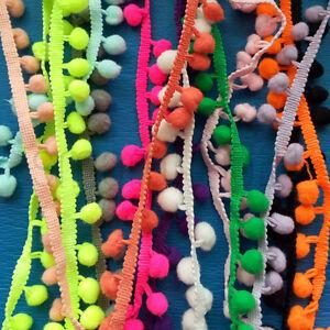 10mm Ball Pom Pom Bobble Trim Braid Fringe Ribbon Edging Craft Decoration