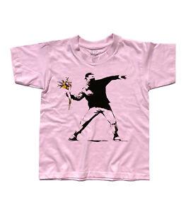 T-shirt bambino BANKSY Flower Thrower Teppista con mazzo fiori street art Londra