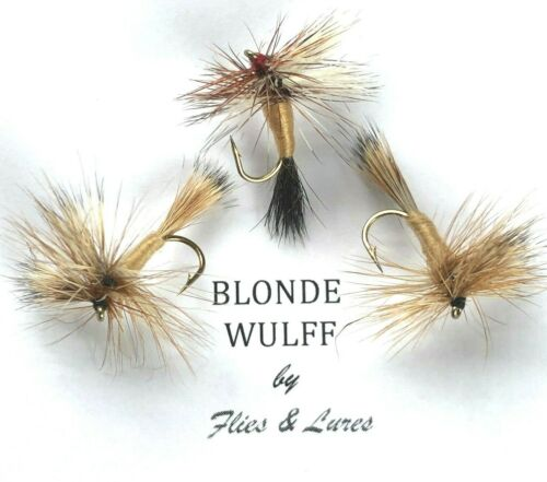 3,4 or 6 Trout Fly Fishing DRY Flies BLONDE WULFF Choose hook Next day delivery