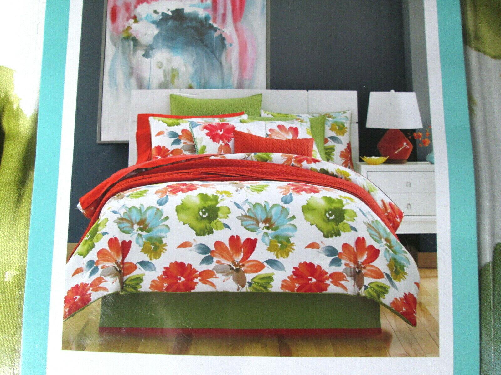 J QUEEN  330 Comforter Set TWIN 3PCS MADIE CITRUS FLORAL MAYA green bluee red