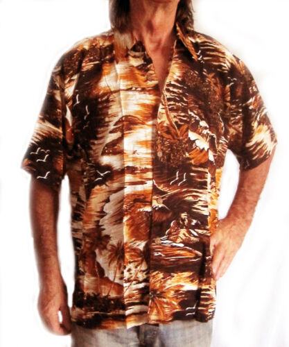 """Hawaiian shirt 52/"""" brown with palms /& sunsets new L"""