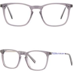 aab466908b92 Details about Square Women Light Acetate Metal Frame Spring Hinge Prescription  Eyeglasses Gray