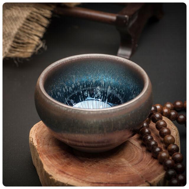 China porcelain fambe Rust red tenmoku oil spot tea cup bowl JIANZHAN