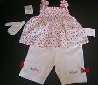 Kissy Kissy Baby Girl 0-3 Months Cherries Set Smocked Top White Shorts