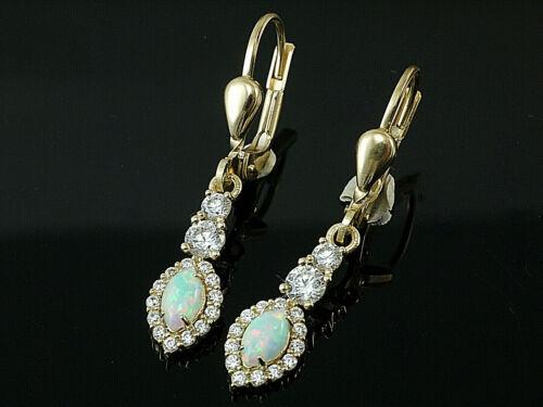 585 Gold Ohrringe mit  echten Opalen 5 mm Größe  27 mm Länge  1 Paar mit Brisur
