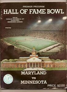 1977 Hall Of Fame Bowl Game Program Maryland Minnesota