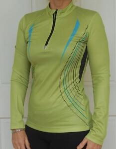 Women-Cycling-Bike-Jersey-Long-Sleeves-Green-S-M-L