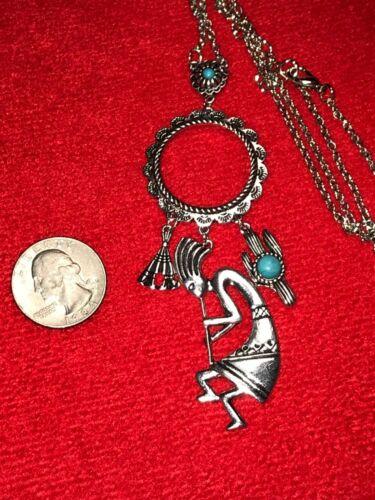 "Native American Kokopelli Cactus Teepee Charm Necklace Silver 24/"" D-783"