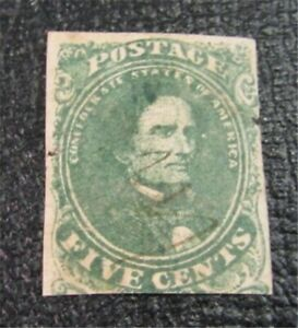 nystamps US CSA Confederate Stamp # 1 Used $75 Red Cancel