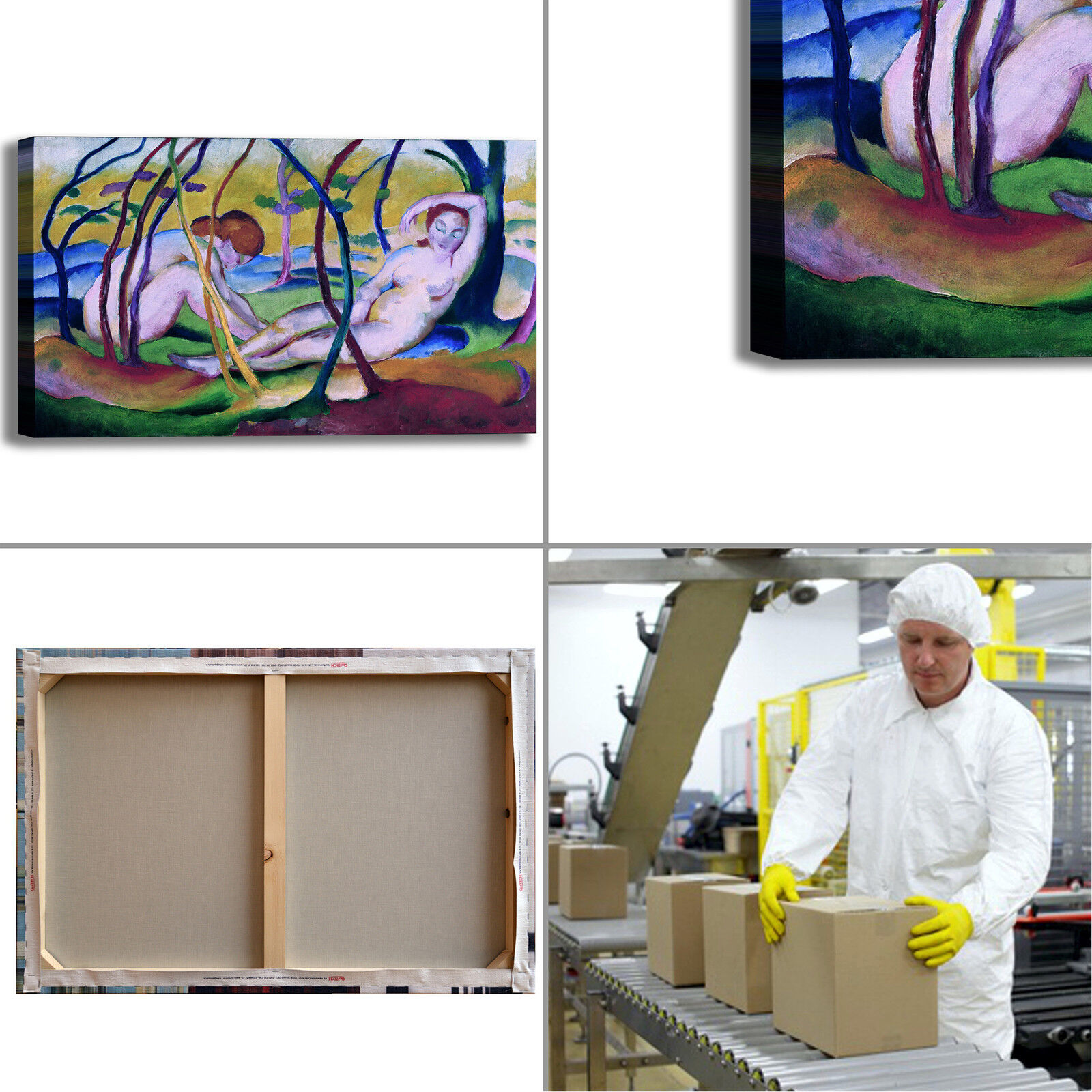 Franz Marc quadro nudi sotto gli alberi quadro Marc stampa tela dipinto telaio arRouge o casa 1d3dcb