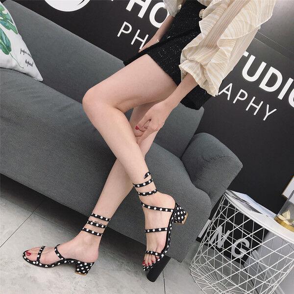 Sandales Élégant Basses Chaussons noir blanc Lacets 5 cm Cuir Synthetique 1058