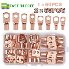 60120pcs Car Auto Copper Ring Lug Terminal Wire Bare Cable Crimp Connectors Us