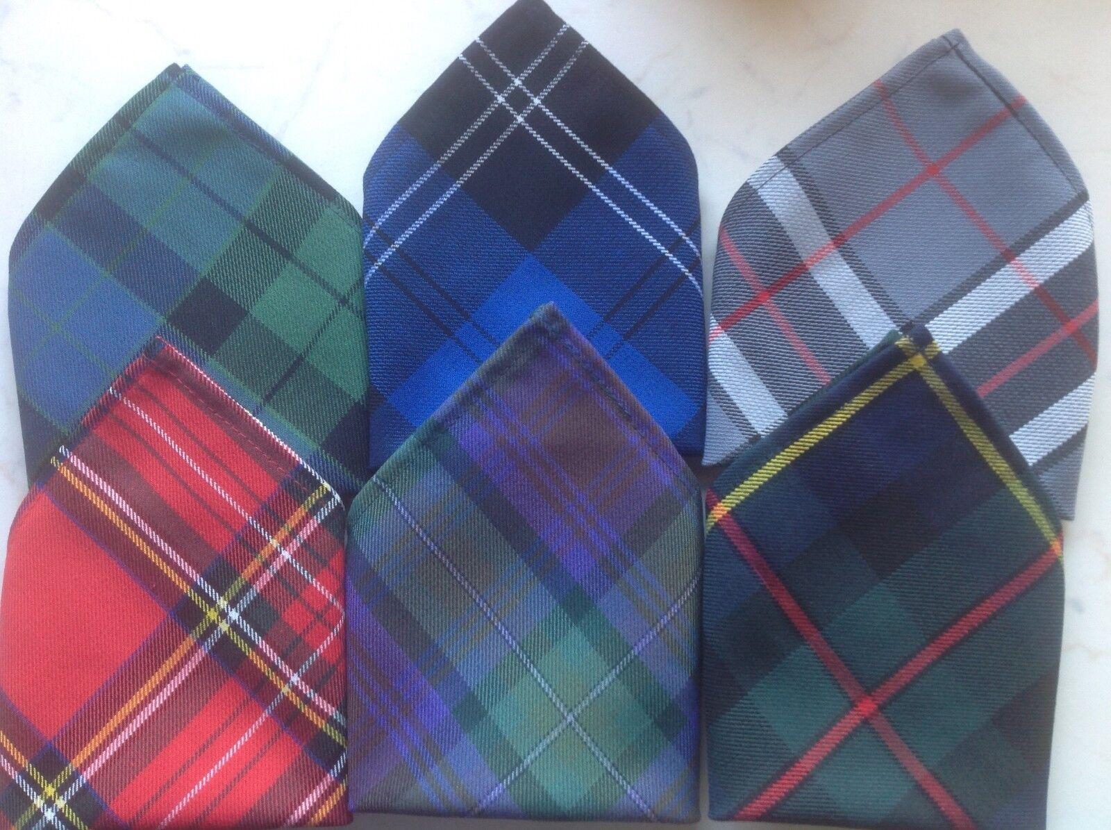 * Nuevo * Caballeros Hombre Tartán Bolsillo Cuadrado Pañuelo Pañuelo-Varios tartans