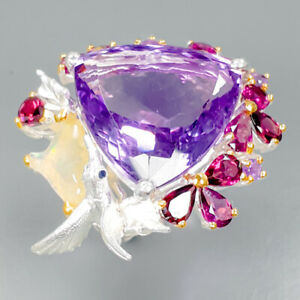 Top-color-30ct-Natural-Amethyst-925-Sterling-Silver-Ring-Size-8-5-R89412