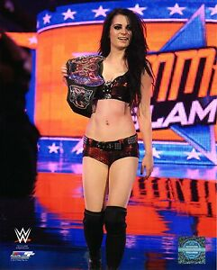 WWE-PHOTO-PAIGE-8x10-034-OFFICIAL-WRESTLING-PROMO-WITH-BELT-ABSOLUTION