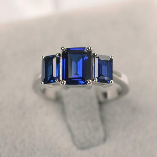 2ct Emerald Cut Blue Sapphire Engagement Ring Trilogy 14k White Gold Finish