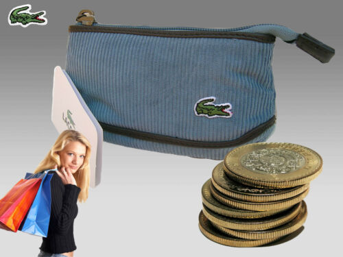 New Authentic Vintage LACOSTE  Ladies Girls COIN PURSE Corduroy Fashion 1 Blue