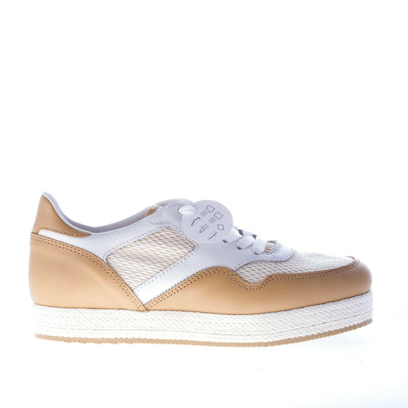 HOGAN women shoes H 268 beige, white and natural lace up sneaker with rope trim