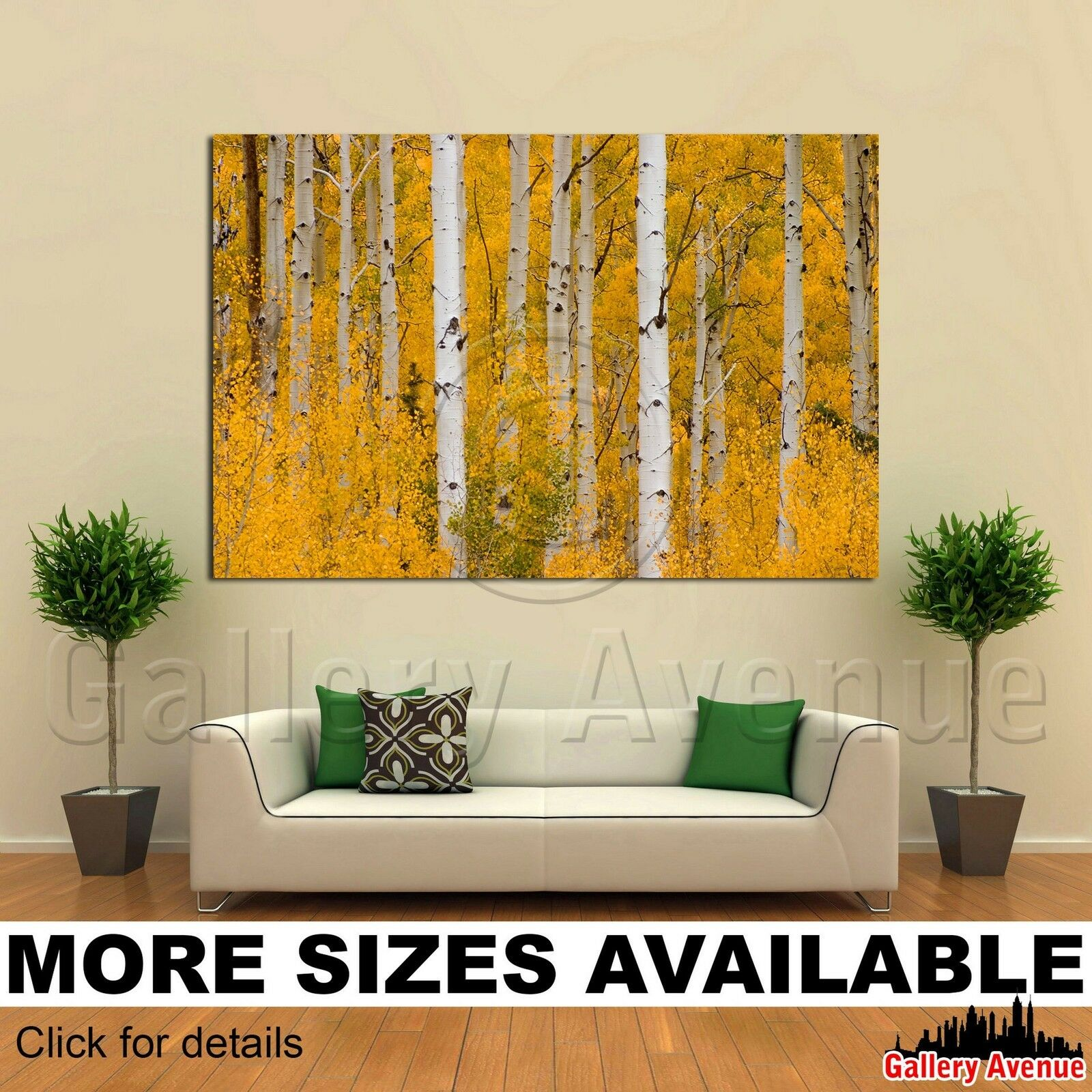 Wall Art Canvas Picture Print - Autumn Leaves Gelb Aspen Trees 3.2