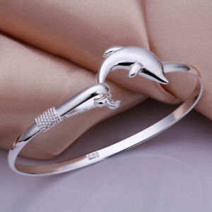 Neu-Silber-versilbert-Dolphin-Design-Armband-Armreif-Damen-Modeschmuck