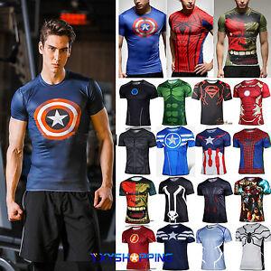d626ed8a8c346c Men Marvel Compression Gym Top Superhero Fitness Short Sleeve Muscle ...